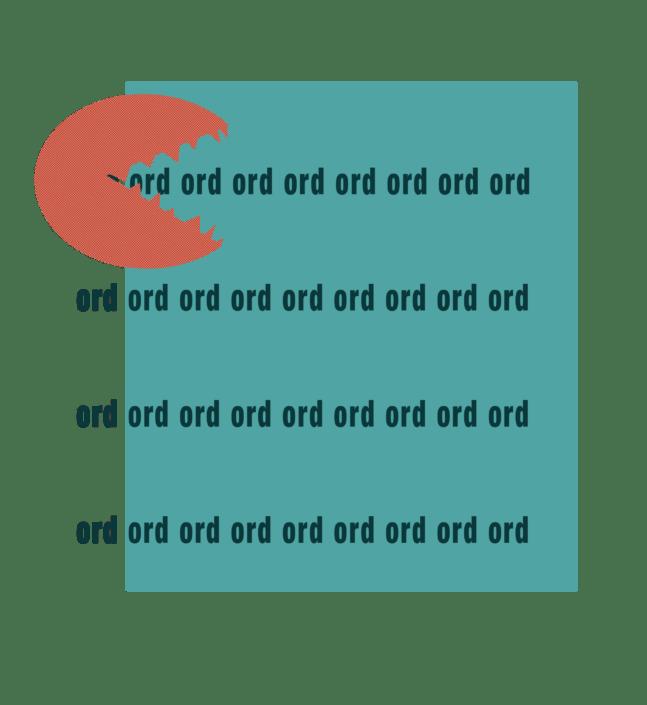 illustration af en packman-figur der spiser ord