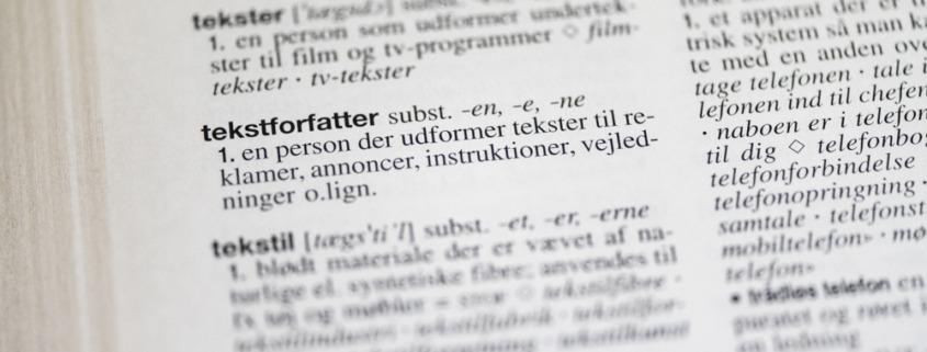 Foto af ordet tekstforfatter fra Retskrivningsordbogen