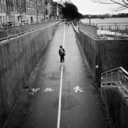 Fotografi af en cyklist i København