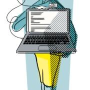 Illustration af Fru Søge, en analogi på Google