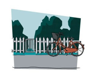 Illustration af en cykel foran en havelåge