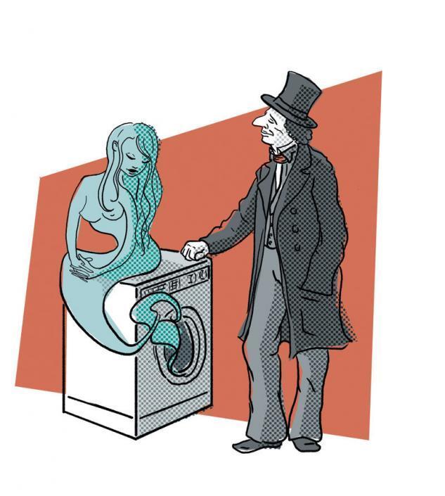 Illustration af HC Andersen, Den lille Havfrue og en vaskemaskine