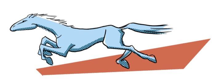 Illustration af en hurtig hest