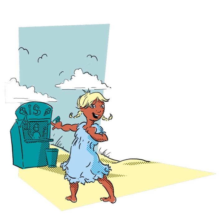 Illustration af pige, der peger på en iskiosk