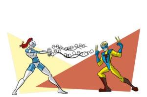 illustration af to superhelte, der kæmper mod hinanden