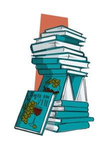Illustration af bøger af vin